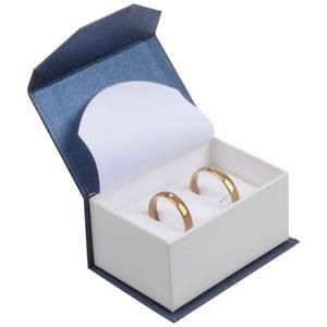 Milano écrin pour alliances / boutons de manchette Carton blue-blanc ivoire perlé/ Mousse blanche 67 x 46 x 35 (60 x 40 x 30 mm)