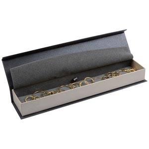 Milano smyckesask till Armband Pearl Antracit- Silver kartong/Grå skuminsats 227 x 50 x 26 (219 x 41 x 17 mm)