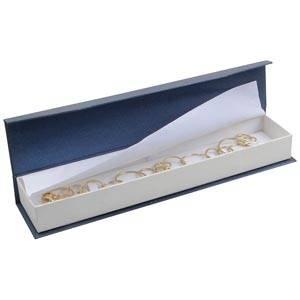 Milano smyckesask till Armband Pearl Blå- vit kartong/Vit skuminsats 227 x 50 x 26 (219 x 41 x 17 mm)