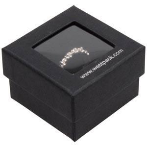 Boston Open Jewellery Box for Ring Black Cardboard with Window / Black Foam 50 x 50 x 32 (45 x 45 x 30 mm)