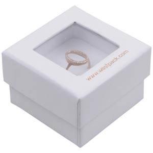 Boston Open Jewellery Box for Ring White Cardboard with Window / White Foam 50 x 50 x 32 (45 x 45 x 30 mm)