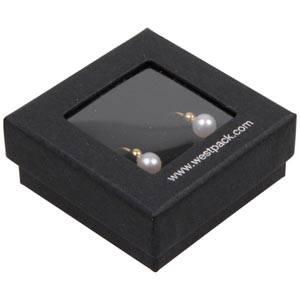 Boston Open Jewellery Box for Earrings / Studs Black Cardboard with Window / Black Foam 50 x 50 x 20 (45 x 45 x 9 mm)