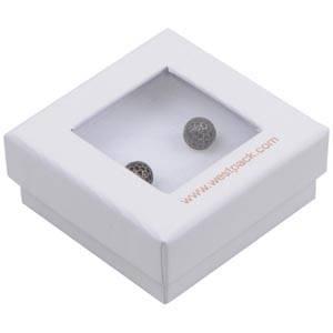 Boston Open Jewellery Box for Earrings / Studs White Cardboard with Window / White Foam 50 x 50 x 20 (45 x 45 x 9 mm)