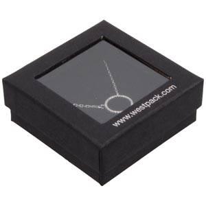 Boston Open Jewellery Box Drop Earrings/ Pendant Black Cardboard with Window / Black Foam 65 x 65 x 25 (60 x 60 x 15 mm)