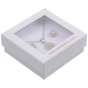 Boston Open Jewellery Box Drop Earrings/ Pendant White Cardboard with Window / White Foam 65 x 65 x 25 (60 x 60 x 15 mm)