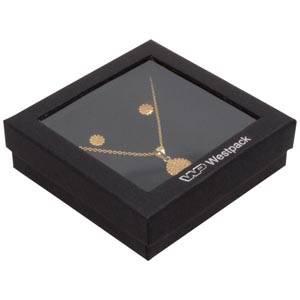 Boston Open Schachtel für Halskette / Armreif Schwarzer Karton / Schwarzer Einsatz 86 x 86 x 26 (82 x 82 x 15 mm)
