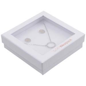Boston Open Jewellery Box for Bangle/ Pendant White Cardboard with Window / White Foam 86 x 86 x 26 (82 x 82 x 15 mm)