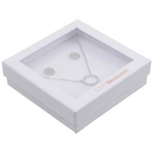 Boston Open smyckesask till Halskedja/Armband Vit Kartong/Vit Skuminsats 86 x 86 x 26 (82 x 82 x 15 mm)