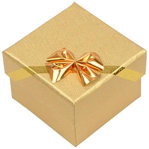 Las Vegas écrin pour bague / Boucles d'oreilles Carton or noeud doré / Mousse blanche 50 x 50 x 34 (46 x 46 x 33 mm)