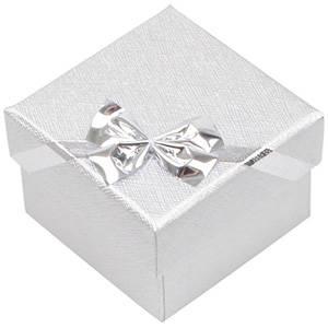 Las Vegas écrin pour bague / Boucles d'oreilles Carton argent noeud argenté / Mousse blanche 50 x 50 x 34 (46 x 46 x 33 mm)