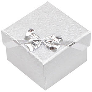 Las Vegas Box for Ring / Earrings Silver Cardboard/ White Interior 50 x 50 x 34 (46 x 46 x 33 mm)