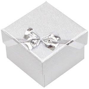 Las Vegas Doosje voor Ring / Oorsieraden Zilver Karton/ Wit Foam Interieur 50 x 50 x 34 (46 x 46 x 33 mm)