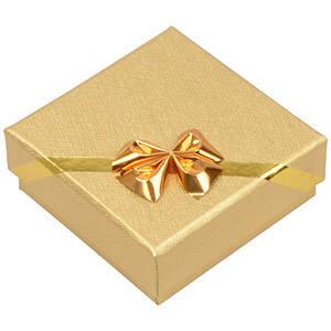 Las Vegas écrin pour BO pendantes/petit pendentif Carton doré av. noeud doré / Mousse blanche 60 x 60 x 22 (56 x 56 x 12 mm)