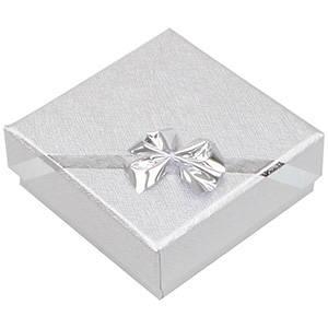 Las Vegas écrin pour BO pendantes/petit pendentif Carton argenté av. noeud argenté / Mousse blanche 60 x 60 x 22 (56 x 56 x 12 mm)