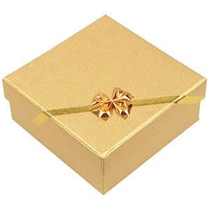 Las Vegas écrin pour bracelet/grand pendentif Carton or av. noeud doré / Mousse blanche 85 x 85 x 35 (82 x 82 x 23 mm)