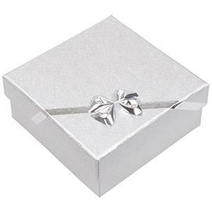 Las Vegas écrin pour bracelet/grand pendentif Carton argenté av. noeud argenté / Mousse blanche 85 x 85 x 35 (82 x 82 x 23 mm)