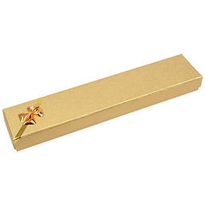 Las Vegas écrin pour bracelet, long Carton or av. noeud doré / Mousse blanche 220 x 45 x 23 (114 x 40 x 10 mm)