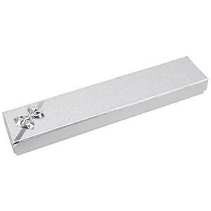 Las Vegas écrin pour bracelet, long Carton argent noeud argenté / Mousse blanche 220 x 45 x 23 (114 x 40 x 10 mm)