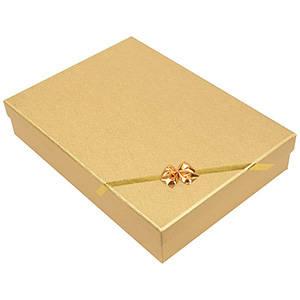 Las Vegas écrin pour collier / parure Carton or noeud doré / Mousse blanche 135 x 190 x 37 (186 x 131 x 26 mm)
