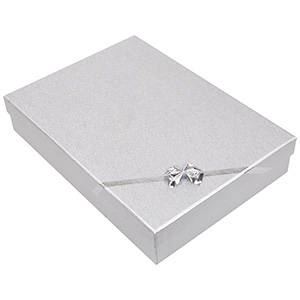 Las Vegas Box for Necklace / Jewellery Set Silver Cardboard/ White Interior 135 x 190 x 37 (186 x 131 x 26 mm)