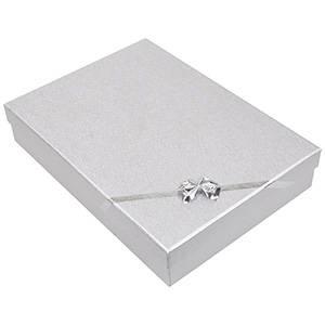 Las Vegas écrin pour collier / parure Carton argent noeud argenté / Mousse blanche 135 x 190 x 37 (186 x 131 x 26 mm)