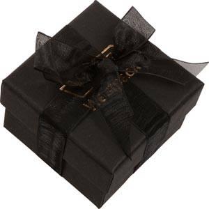 Barcelona smykkeæske til ring Sort karton med organzasløjfe / Sort skumindsats 50 x 50 x 32 (44 x 44 x 31 mm)