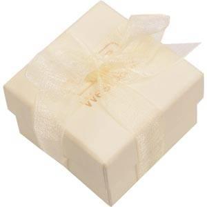 Barcelona smykkeæske til ring Creme karton med organzasløjfe/ Hvid skumindsats 50 x 50 x 32 (44 x 44 x 31 mm)