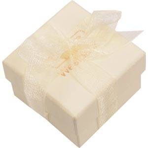 Barcelona Jewellery Box for Ring / Stud Earrings Cream Cardboard with Organza Bow/ White Foam 50 x 50 x 32 (44 x 44 x 31 mm)