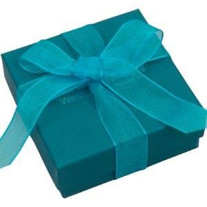 Barcelona Schachtel für Halskette mit Anhänger Petrol blauer Karton / Schwarzer Einsatz 65 x 65 x 25 (61 x 61 x 15 mm)
