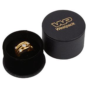 Paris smykkeæske til ring / ørering/ ørestikker Sort kunstlæder / Sort skumindsats  Ø 55 x 42 mm  (Ø 43 x 25 mm)