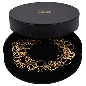 Paris smykkeæske til collier/ halskæde/ smykkesæt Sort kunstlæder / Sort skumindsats  Ø 200 x 40 mm  (Ø 190 x 18 mm)