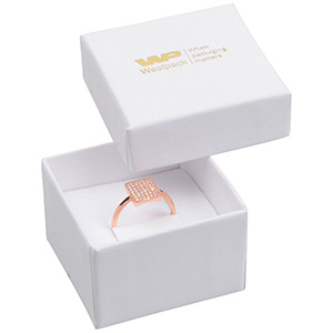 Santiago Jewellery Box for Ring White Cardboard/ White Foam 50 x 50 x 32 (44 x 44 x 30 mm)