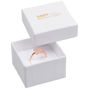 Santiago opakowania na pierścionki/ kolczyki Biały karton/biała  gąbka  50 x 50 x 32 (44 x 44 x 30 mm)