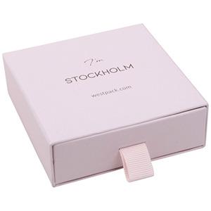 Stockholm smyckesask till hänge/armband Rosa kartong med struktur / Svart skuminsats 85 x 85 x 30 (80 x 82 x 15 mm)