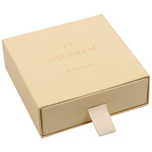 Stockholm écrin pour bracelet / grand pendentif Carton beige chaud texturé / Mousse Noire 85 x 85 x 30 (80 x 82 x 15 mm)