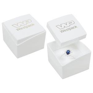 Copenhagen Jewellery Box for Ring Glossy White Lid/ Matt White Base / White Foam 43 x 43 x 32 (43 x 43 x 29 mm)