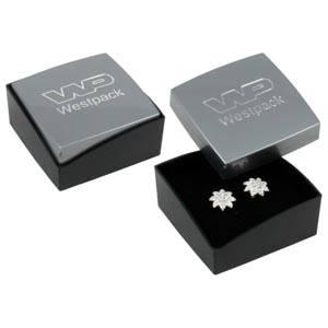 Copenhagen Jewellery Box Studs/ Earrings / Charms Glossy Silver Lid/ Matt Black Base / Black Foam 43 x 43 x 20 (43 x 43 x 17 mm)
