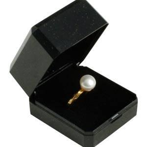 Verona smykkeæske til ring / vielsesringe Blank sort plast med glitter og guldkant/Sort skum 45 x 50 x 34 (42 x 46 x 32 mm)