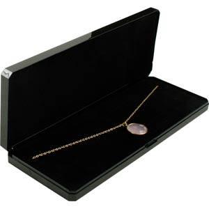 Verona æske til collier, lang Sort plastik med guldkant / Sort skumindsats 210 x 80 x 25 (206 x 76 x 7 mm)