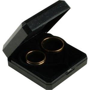 Verona smykkeæske til vielsesringe Sort plastik m guldkant/ Sort hjerteformet indsats 60 x 60 x 23 (50 x 50 x 6 mm)