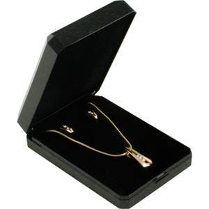 Verona smykkeæske til halskæde med vedhæng / Sæt Blank sort plast med glitter og guldkant/Sort skum 60 x 85 x 23 (57 x 81 x 4 mm)