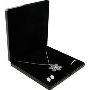 Verona smykkeæske til collier Blank sort plast med glitter og guldkant/Sort skum 165 x 165 x 26 (160 x 160 x 7 mm)