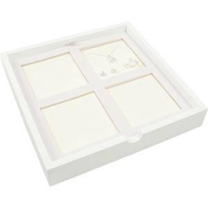 Plateau de présentation 4x parure, 3 pièces Blanc/Mousse blanche / Dimensions coussins:85x85mm 237 x 237 x 38
