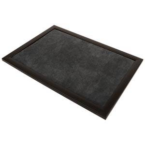 Plateau de présentation pour bijoux Cadre en bois noir mat/ Coussin velours gris foncé 390 x 270