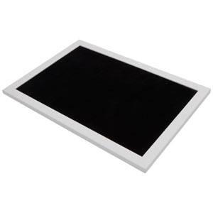 Plateau de présentation pour bijoux Cadre en bois blanc mat/ Coussin velours noir 390 x 270