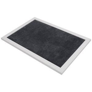 Præsentationsbakke Hvid træbakke / Mørkegrå pigstof 390 x 270