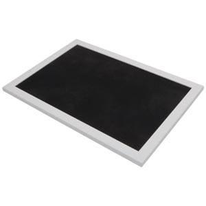 Plateau de présentation pour bijoux Cadre en bois blanc mat/ Coussin similicuir noir 390 x 270