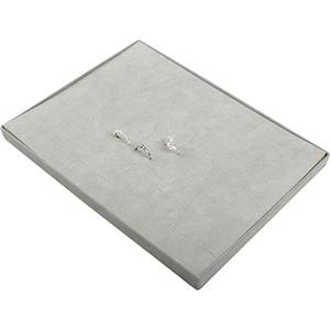 Insertion pour petit plateau : 60 bagues, en fil Cloison gris clair/ Coussins en velours gris clair 207 x 274