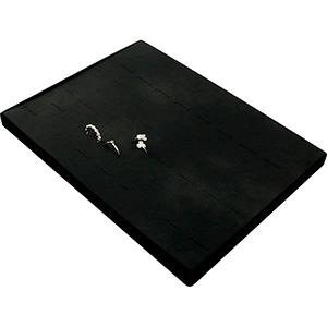 Insertion pour petit plateau : 60 bagues, en fil Cloison noire / Coussins en similicuir noir 207 x 274