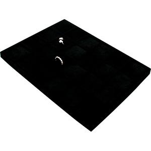 Insats till liten kassett:24x Ring Svart mellanrum/ Svarta  kuddar i velour 207 x 274